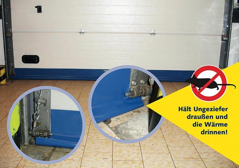 Warnhinweis: Bürstendichtungen lassen Ungeziefer durch, Spaltabdichtungen von SGD nicht. Illustrative Collage.