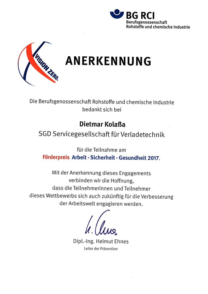 Teilnahme am Förderpreis Arbeit - Sicherheit - Gesundheit 2017.