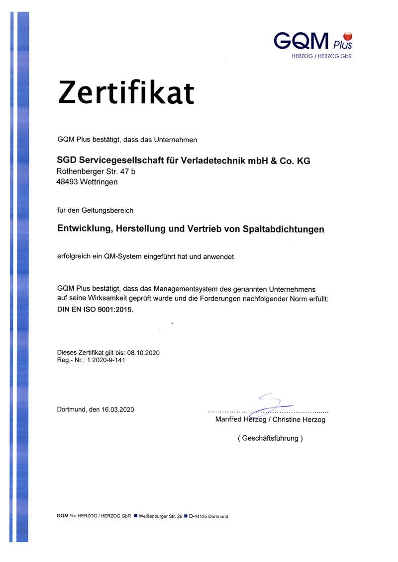 Abbildung des Zertifikats für unser Qualitätsmanagement.