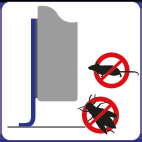 Schematische Darstellung der Schädlinge stoppenden Wirkung der Spaltabdichtung für Schiebetüren.