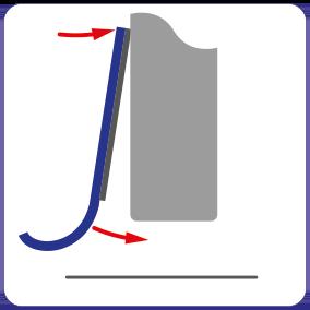Schematische Darstellung der magnetischen Montage der Spaltabdichtung für Schiebetüren.