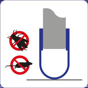 Schematische Darstellung der Schädlinge stoppenden Wirkung der Spaltabdichtung für Türen und Tore.