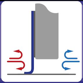 Schematische Darstellung der isolierenden Wirkung der Spaltabdichtung für Schiebetüren.
